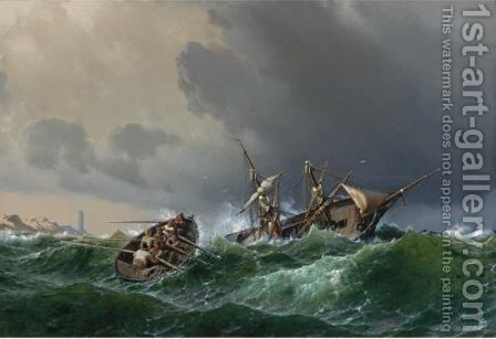 Abandon Ship The Revenge Of The Sea by Johan Carl Neumann - Reproduction Oil Painting