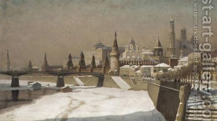 View Of The Kremlin by Mikhail Germashev - Reproduction Oil Painting