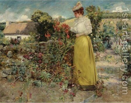 Among The Flowers, Giverny by Dawson Dawson-Watson - Reproduction Oil Painting