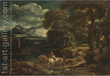Pastori Col Gregge Presso Un Fiume by (after) Pieter The Younger Mulier (Tampesta, Pietro) - Reproduction Oil Painting