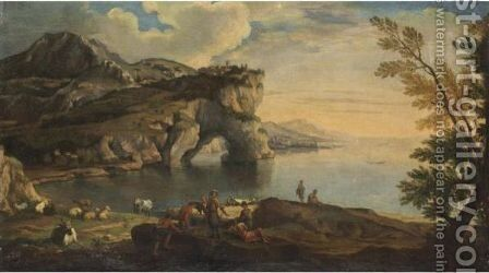 Veduta Costiera Con Figure E Animali by (after) Rosa, Salvator - Reproduction Oil Painting