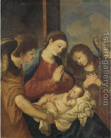 Madonna Col Bambino E Due Angeli by Italian School - Reproduction Oil Painting