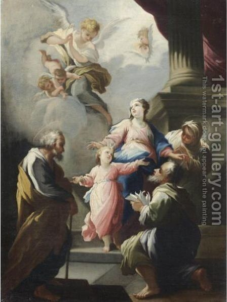 Sacra Famiglia Con Santi by Giovanni Camillo Sagrestani - Reproduction Oil Painting