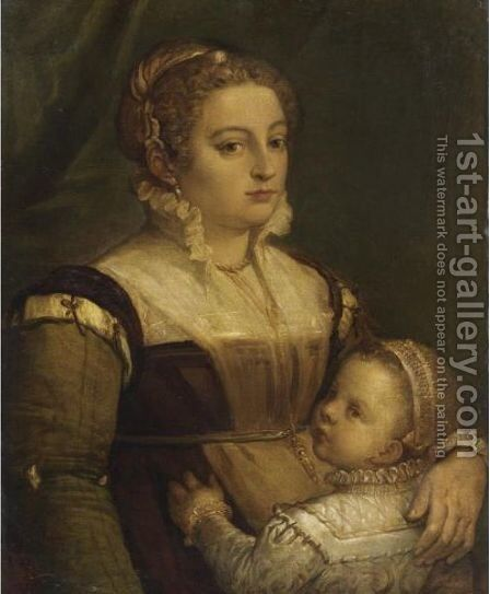 Ritratto Di Dama Con Bambina by (after) Paolo Veronese (Caliari) - Reproduction Oil Painting