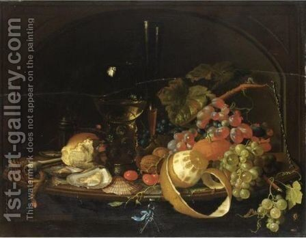 Natura Morta Con Uva, Ostriche, Pane E Bicchiere by (after) Cornelis De Heem - Reproduction Oil Painting