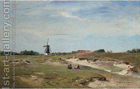 Landscape With Windmill by Ivan Pavlovich Pokhitonov - Reproduction Oil Painting
