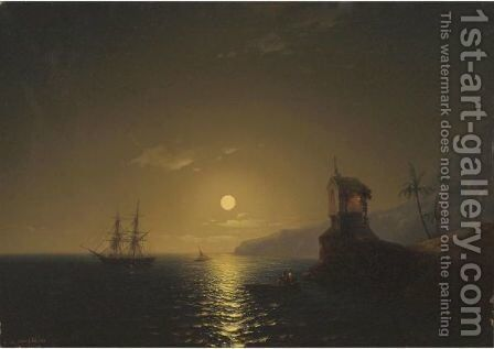 Shipping By Moonlight by Ivanovich Serebriakov - Reproduction Oil Painting