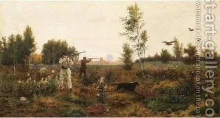 Hunting For Young Pheasant by Aleksei Danilovich Kivshenko - Reproduction Oil Painting