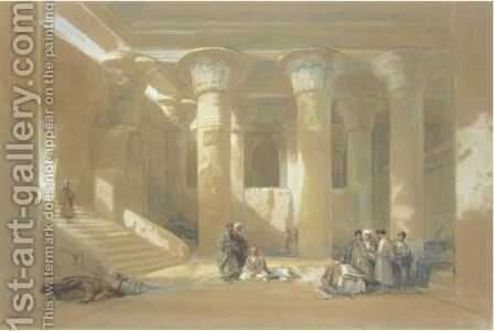 The Grand Portico Of The Temple At Esneh, Egypt by David Roberts - Reproduction Oil Painting