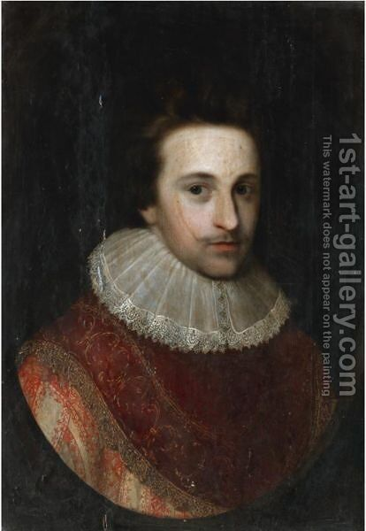 Portrait Of Sir John Nicholas Martyn by (after) Johnson, Cornelius I - Reproduction Oil Painting