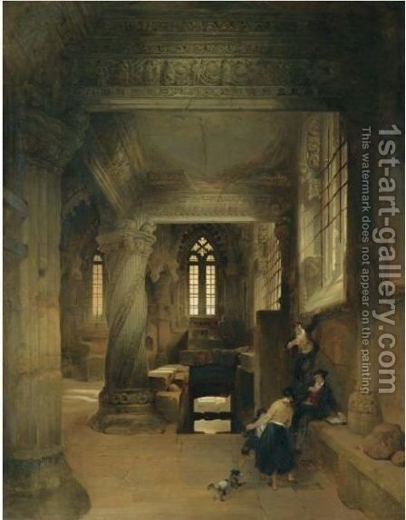 Interior Of Rosslyn Chapel by David Roberts - Reproduction Oil Painting