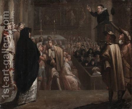 John Knox Delivering A Sermon by (after) Marcellus Laroon - Reproduction Oil Painting