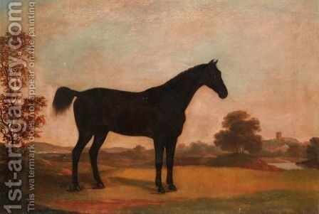 A Dark Bay Hunter In A Landscape by (after) Samuel Spode - Reproduction Oil Painting
