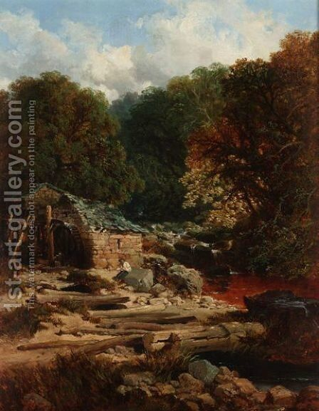 River Landscape With A Fisherman Beside A Watermill by Edmund John Niemann, Snr. - Reproduction Oil Painting