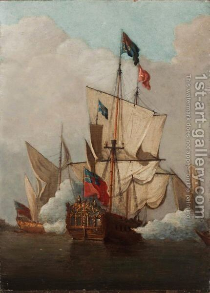 The Royal Yacht Perregrin by (after) Peter Monamy - Reproduction Oil Painting