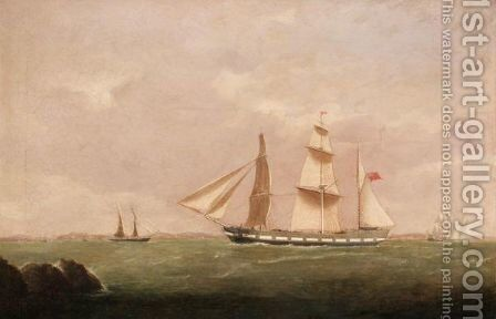 Coastal Scene With A Brig by (after) Joseph Heard - Reproduction Oil Painting