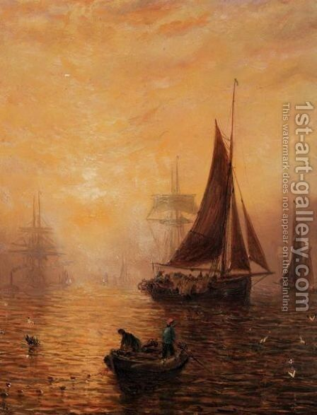 Shipping Fleet At Dusk by Adolphus Knell - Reproduction Oil Painting