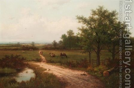 Landscape With Cows And A Watering Pool by Hendrik Pieter Koekkoek - Reproduction Oil Painting