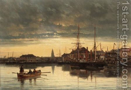 Rowing Into Harbour At Dusk by Charles Euphraisie Kuwasseg - Reproduction Oil Painting