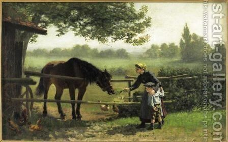 Young Girl Feeding A Horse by Charles Edouard Frere - Reproduction Oil Painting