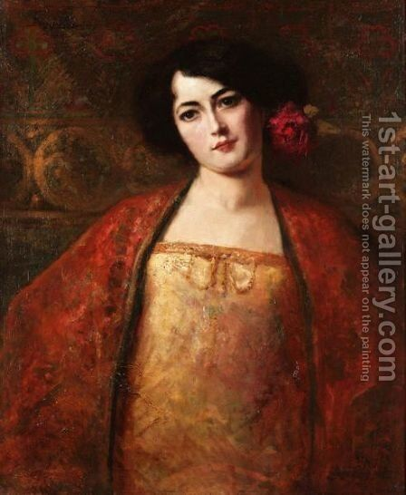 Portrait Of A Lady In A Red Shawl by Benjamin Jean Joseph Constant - Reproduction Oil Painting