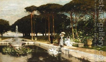 Strolling In The Gardens by Hans Peter Feddersen - Reproduction Oil Painting