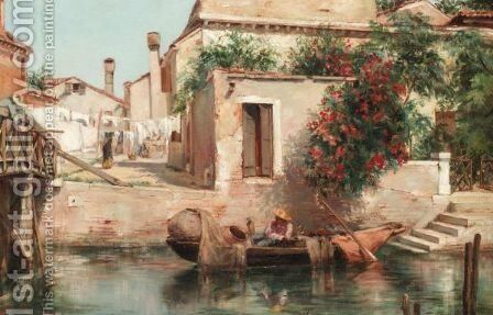 Relaxing In A Venetian Backwater by Spanish School - Reproduction Oil Painting