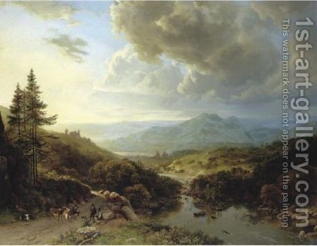 Figures And Animals In A Mountainous Landscape by Barend Cornelis Koekkoek - Reproduction Oil Painting