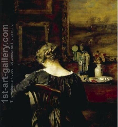 Interior Med Kunstnerens Hustru (Interior With The Artist's Wife) by Carl Vilhelm Holsoe - Reproduction Oil Painting