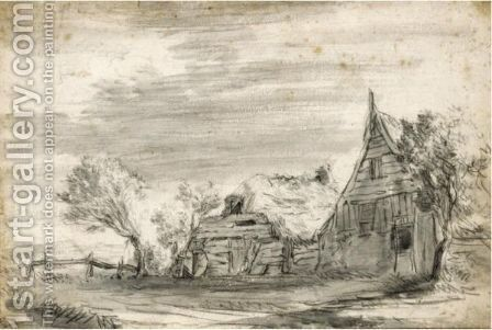 View Of Thatched Farm Buildings, With A Willow Tree To The Left by (after) Jacob Van Ruisdael - Reproduction Oil Painting