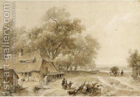 View Of A Watermill In Woodland, With A Haycart Approaching On A Track To The Right by Andreas Schelfhout - Reproduction Oil Painting