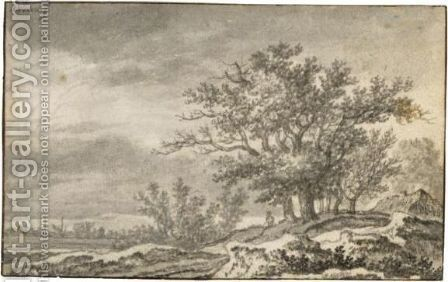Dune Landscape With A Cottage And A Figure Under Trees by Adriaen Hendricksz Verboom - Reproduction Oil Painting
