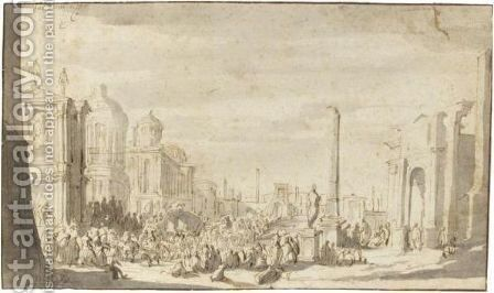A Crowd Of Figures Gathered In The Roman Forum, An Obelisk And Triumphal Arch To The Left by Jacob Van Der Ulft - Reproduction Oil Painting