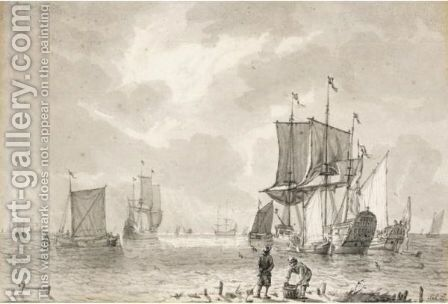 Yachts At Anchor Near The Shore, With Other Vessels Beyond, And Two Fishermen With Their Catch On A Promontory In The Foreground by Jan Claes Rietschoof - Reproduction Oil Painting