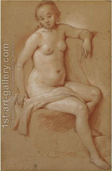 Study Of A Seated Female Nude by Haarlem School - Reproduction Oil Painting