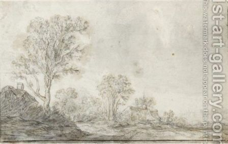 Landscape With Cottages By Tall Trees Towards The Left, Figures To The Right by Cornelis Symonsz van der Schalcke - Reproduction Oil Painting