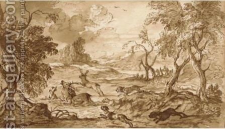 A Pack Of Dogs Chasing Two Stags Through Woodland by Michiel Carree - Reproduction Oil Painting