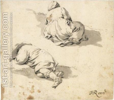 Study Of Two Peasants Sleeping On The Ground by Johann Heinrich Roos - Reproduction Oil Painting