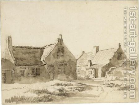 Study Of Two Cottages by Dutch School - Reproduction Oil Painting