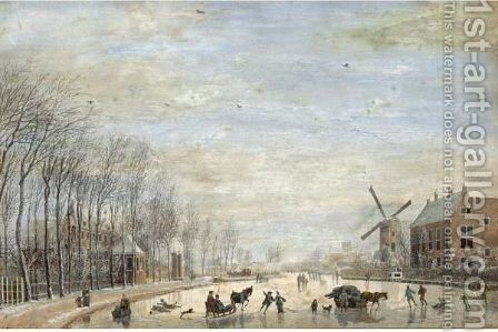 Winter Landscape With Skaters And Sledges On A Frozen River Running Through A Town by Abraham Rademaker - Reproduction Oil Painting
