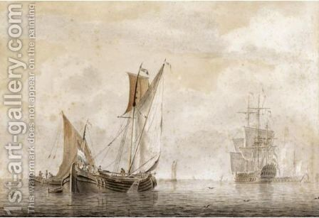 Small Vessels On A Calm Sea, With Two Yachts In The Distance by Cornelis De Grient - Reproduction Oil Painting