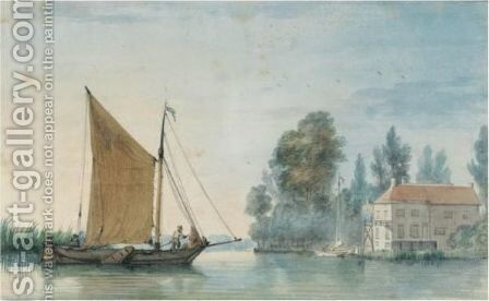 A Boat Approaching A Mill On The Papendrecht Dike, By Dordrecht by Aert Schouman - Reproduction Oil Painting