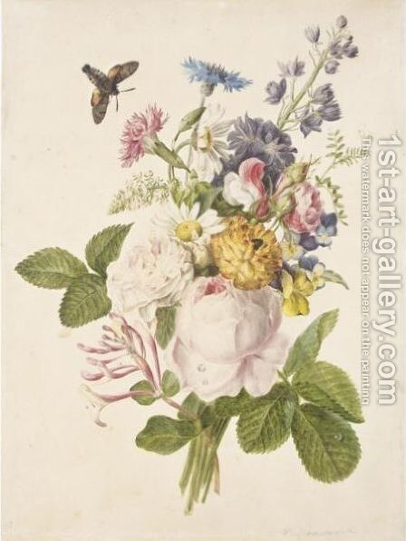 Still Life Of A Bunch Of Flowers, With Roses, Honeysuckle And Ox-Eye Daisies by (after) Gerard Van Spaendonck - Reproduction Oil Painting