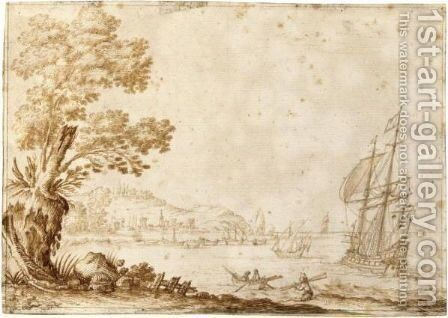 View Of A Bay, With A Yacht And Smaller Vessels Anchored Near The Shore by Dutch School - Reproduction Oil Painting