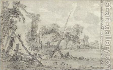 River Landscape With A Rustic Wooden Bridge And Tall Masted Ships In The Distance by Dutch School - Reproduction Oil Painting
