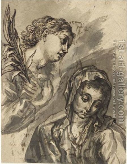 Head And Shoulders Of The Virgin Mary, With The Angel Gabriel Descending To The Left by (after) Joachim Von, I Sandrart - Reproduction Oil Painting