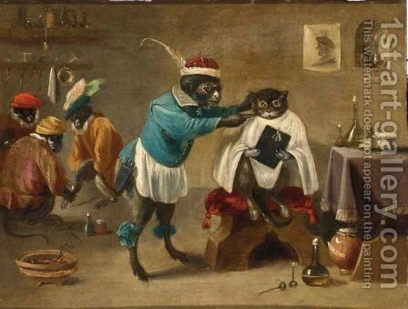 An Interior Of A Monkey Barbershop With A Monkey Trimming A Cat And Three Monkeys Sitting In The Background by (after) Abraham Teniers - Reproduction Oil Painting