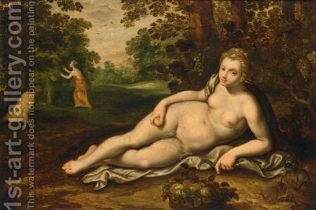Ceres Reclining In A Forest Landscape With A Monkey Eating A Fig And A Fruit Basket, Figures In The Background by (after) Adriaen Van Stalbemt - Reproduction Oil Painting