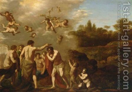 The Baptism Of Christ by (after) Cornelis Van Poelenburgh - Reproduction Oil Painting