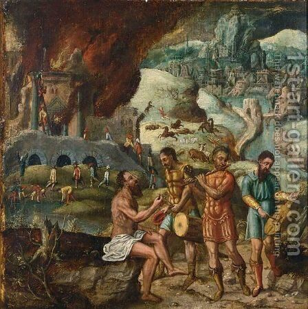 The Story Of Job by (after) Lucas Gassel - Reproduction Oil Painting